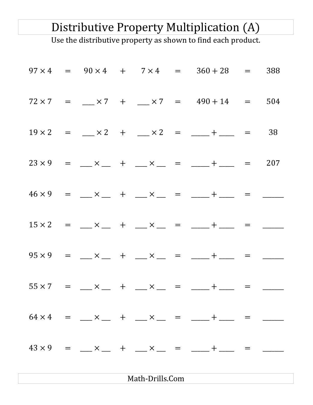 Distributive Property Worksheet 6th Grade In 2020 Multiplication Worksheets Distributive Property Distributive Property Of Multiplication