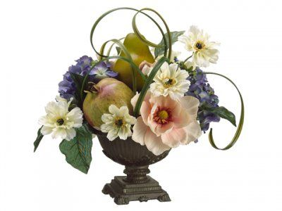 Magnolia Hydrangea And Pear Silk Floral Arrangement Arwf3185 Dress Up Any Room In Your Hou Hydrangea Arrangements Flower Arrangements Silk Floral Arrangements