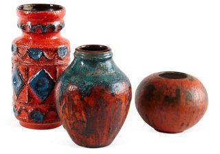 West German Pottery, Set of 3, IV. $185.00 on One Kings Lane