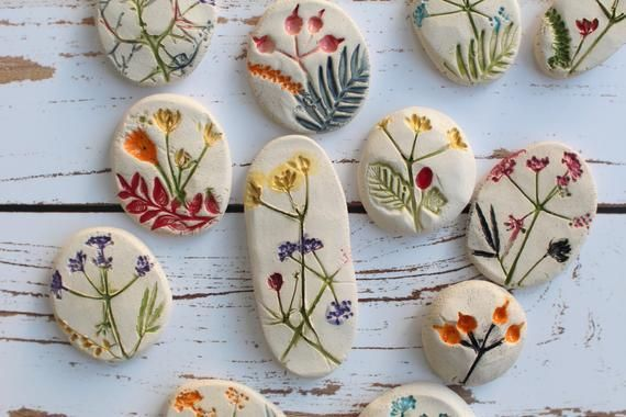 Photo of Ceramic cabochon, Handmade cabochons, Flower cabochons, Pressed flower, Table decor, Altered art, Mixed media, Jewelry design, Pocket stone