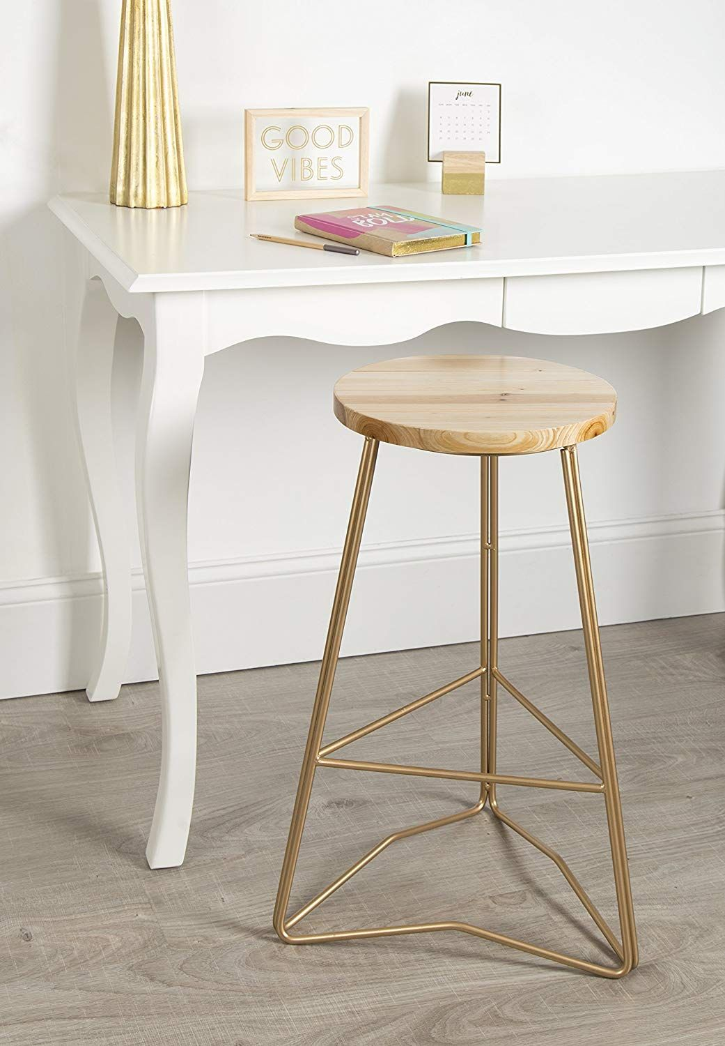 Gold And Wood Backless Bar Stool Kate And Laurel 212818 Godwin