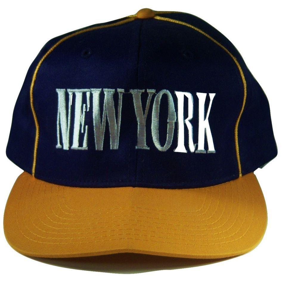 fba309b6d02 Snapback Hat Mens New York Baseball Cap Navy Blue Gold with White Letters   Unbranded  BaseballCap