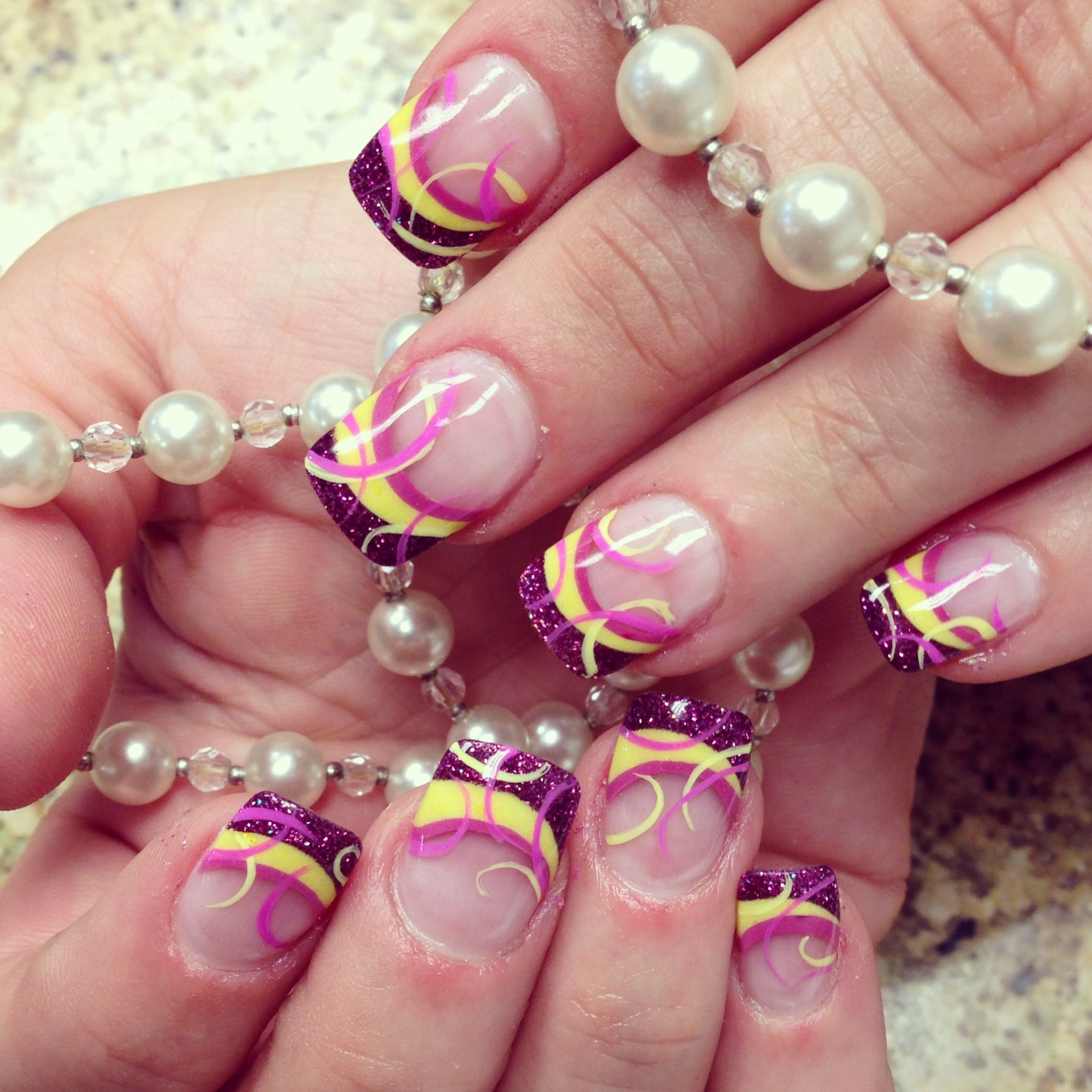 Fun fuschia and yellow nails | Nails by The Haute Spot | Pinterest ...