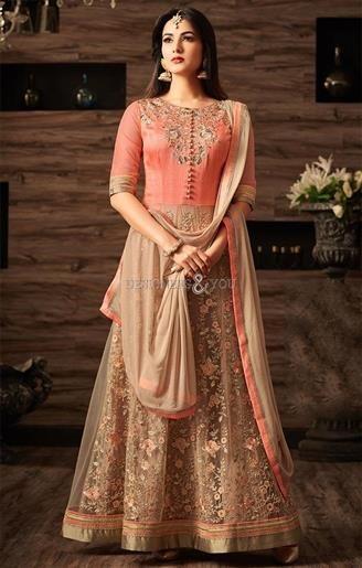 d1b71192c5 Prepossessing Peach Boutique Style Anarkali Suit For Reception  #DesignersAndYou #Anarkali #BoutiqueStyle #reception