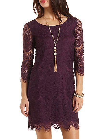 Scalloped Lace Shift Dress: Charlotte Russe