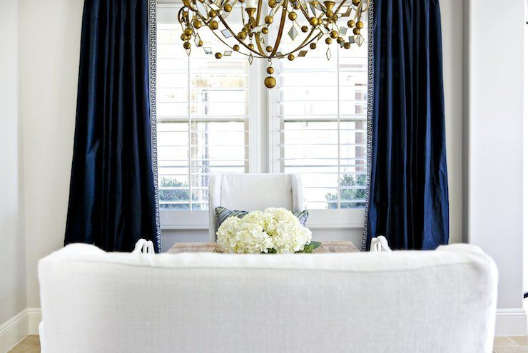 White And Navy Dining Room Features Gold Chandelier Oly Studio Endearing Drapes For Dining Room Inspiration