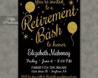 Retirement Invitation On Etsy A Global Handmade And Vintage Marke Printable Birthday Invitations 50th Birthday Invitations Birthday Party Invitation Templates