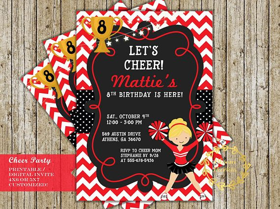 Cheer Party Birthday Invitation Cheerleading Party Ideas Black And