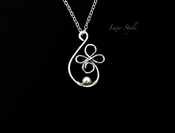 Hand Made Wire Pendants   ... Wire wrapped Pearl White ...