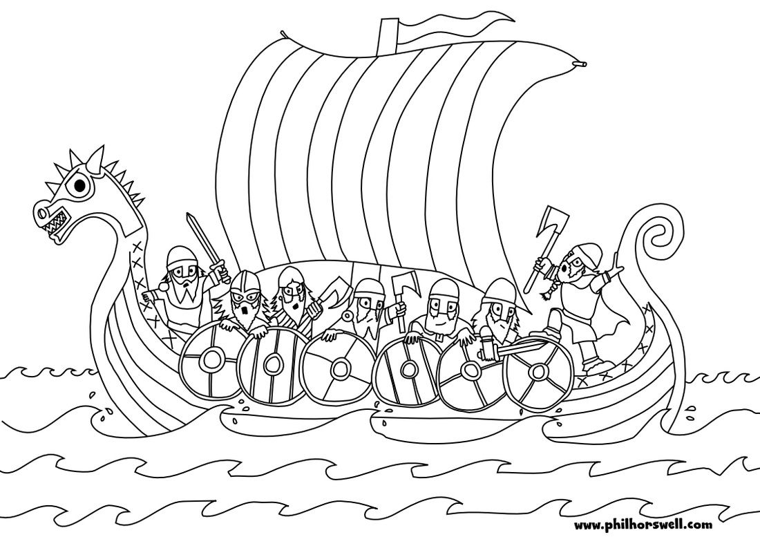 Viking Longship Colouring Pages Middle Ages Viking Longship