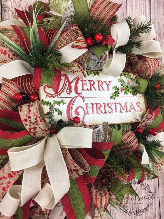 Rustic Christmas Wreath for Front Door, Double Door Wreath, Rustic Christmas Decor, Holiday Wreaths, Mesh Christmas Wreath, Holiday Wreaths #doubledoorwreaths