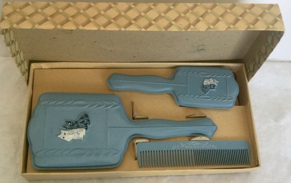 Vintage Childs Dresser Vanity Set Mirror Comb Brush W/ Box Scottie