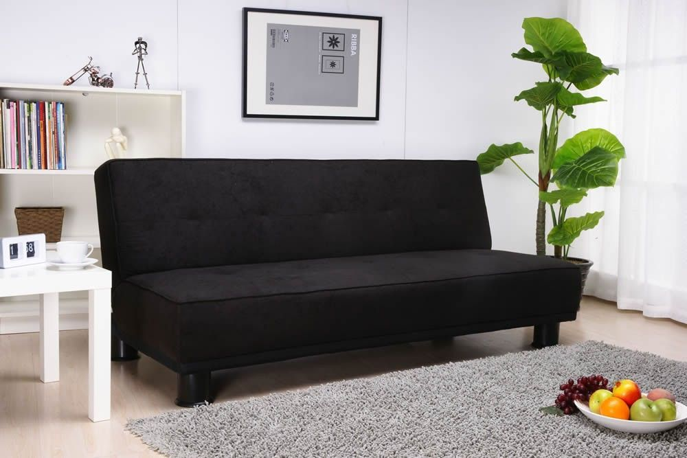 Ismi Faux Suede Futon Sofa Bed In A Luxurious Black A Contemporary And Minimalist Sofa That S Also Ideal For Small Fabric Sofa Bed Black Fabric Sofa Sofa Bed