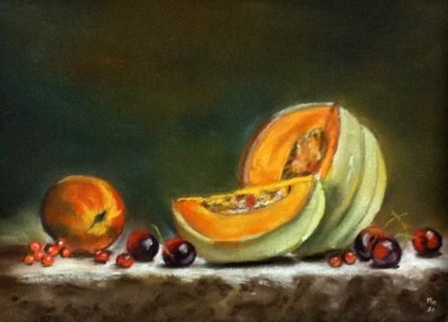 Tableau Pastel Sec Melon Nature Morte Par L Artiste