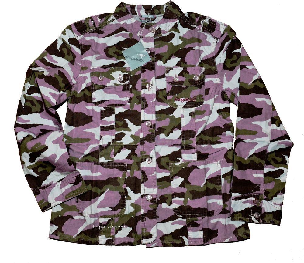 Jacke / Canvasjacke mit Stehkragen von KangaROOS in Camouflage Gr.158 NEU