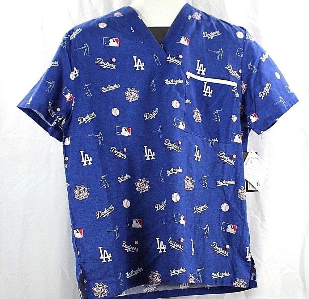 7ca99b3d4c4 LA Dodgers Scrub Top Blue S V-Neck Front Pockets SS #GenuineMerchandise