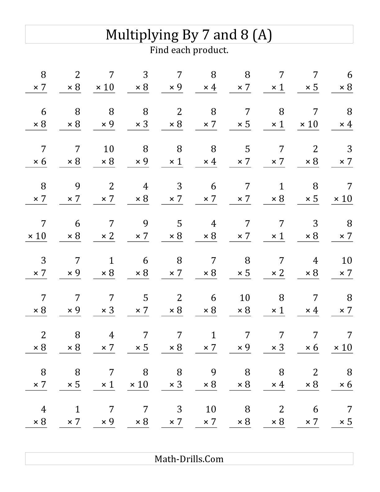Worksheets Timed Math Facts Worksheets the multiplying 1 to 10 by 7 and 8 a math worksheet from 12 6 c worksheet
