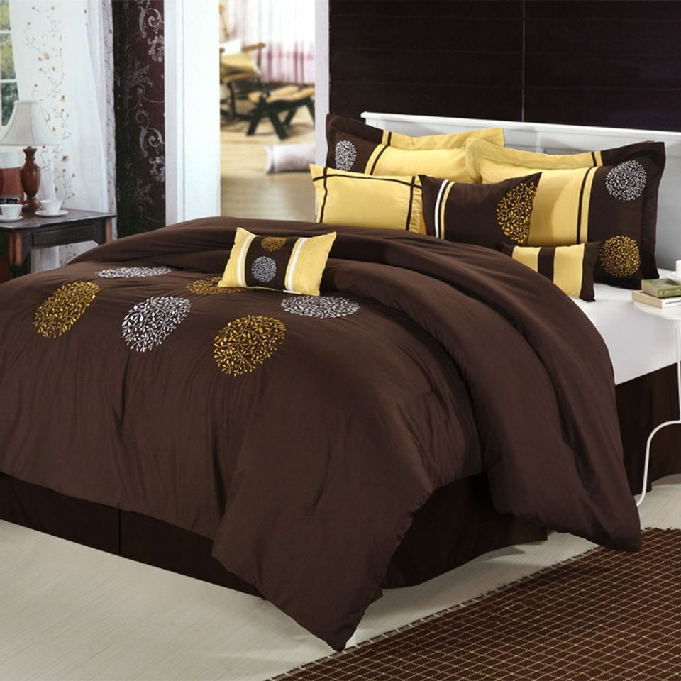Brown Duvet Cover Yellow Sheets Comforter Sets Wooden King