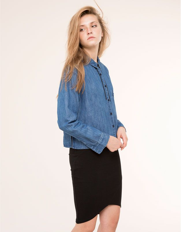 MID-LENGTH SKIRT WITH UNEVEN HEM SKIRTS - WOMAN PULL&BEAR Denmark