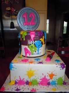 Awe Inspiring Paint Splatter Birthday Cakes Google Search With Images Personalised Birthday Cards Sponlily Jamesorg