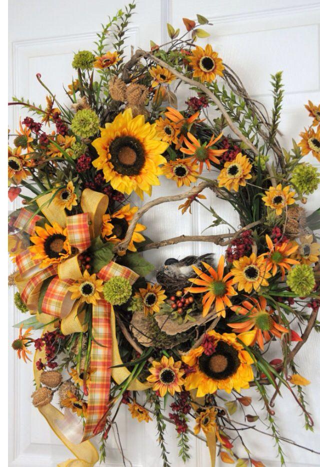 Sunflower wreath | Wreath-Sunflower Wreath | Pinterest