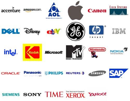 Top Tech And Media Brands Chosen From The Businessweek Interbrand Most Valuable Brand List For 200 Creative Company Names Unique Business Names Branding Basics