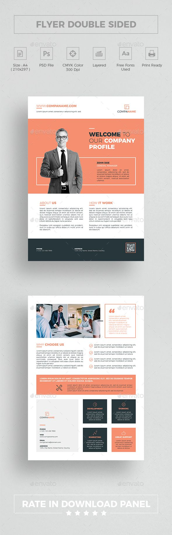 Flyer Double Sided | Flyer template, Template and Company profile