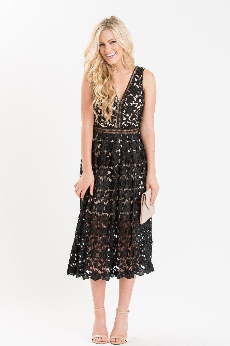 Isabella Black Lace Midi Dress