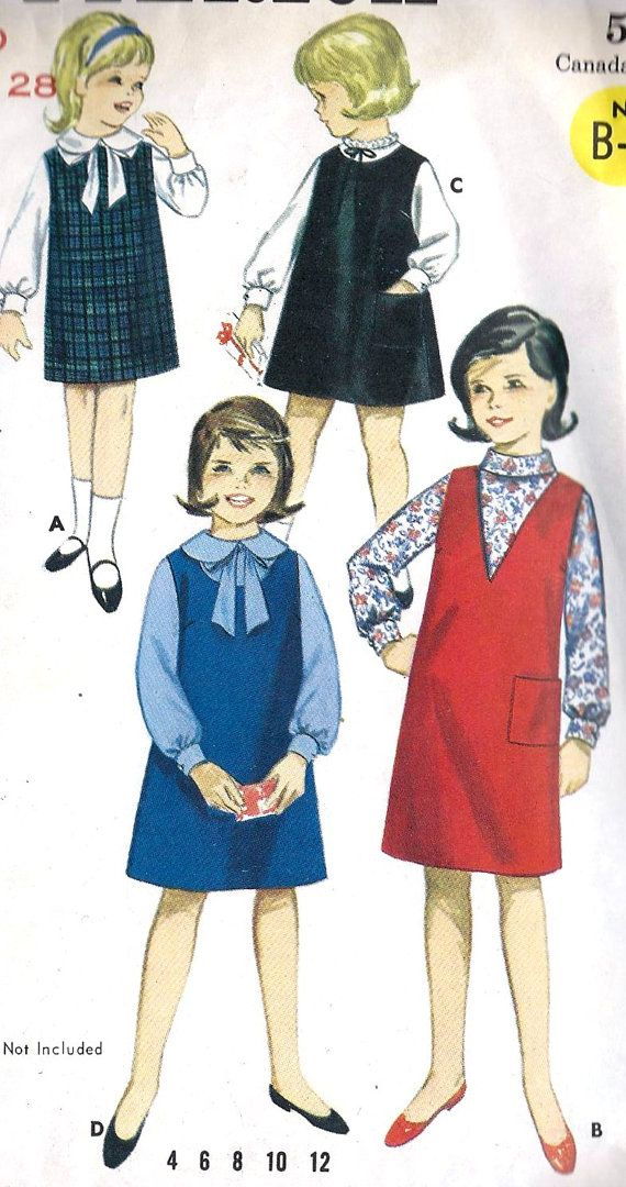 1960s Girls Dress or Jumper And Blouse Vintage Sewing Pattern, Fall Fashion, School Fashion, Butternick 3233 Sold out, inspiration