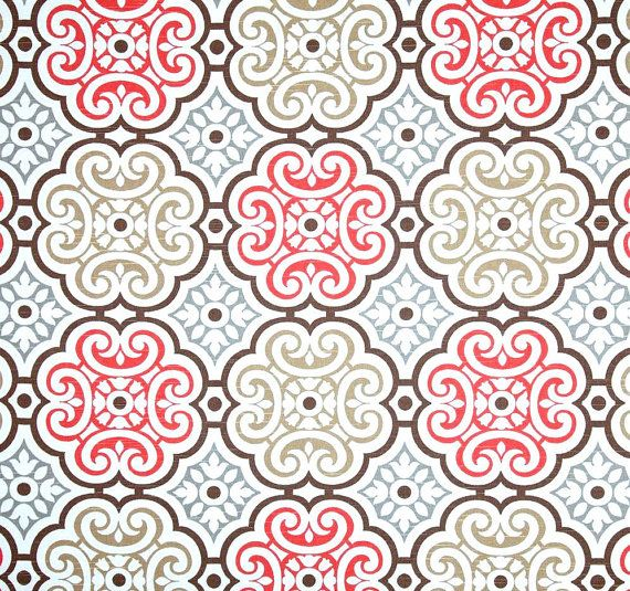 Coral Grey & Brown Mosaic Fabric by the Yard, Designer Home Decor ...