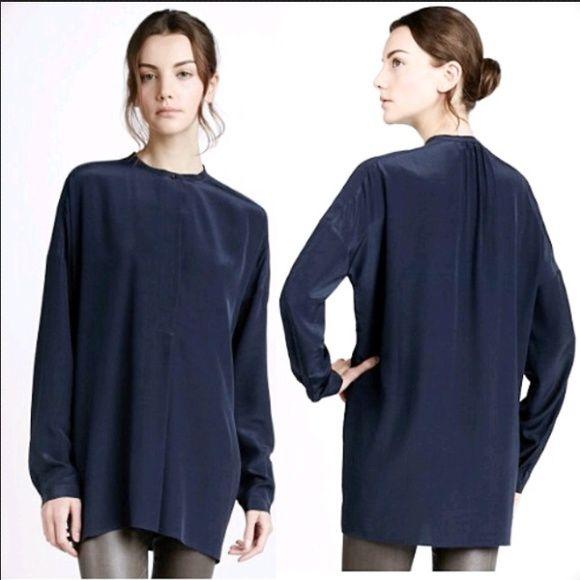VINCE Oversized Silk Side-Pocket Blouse Vince Oversized Silk Blouse.  Featuring hidden on-