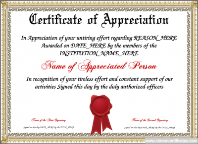 certificate of appreciation template free to customize download print and email hundreds of images to choose from at wwwclevercertificatescom or