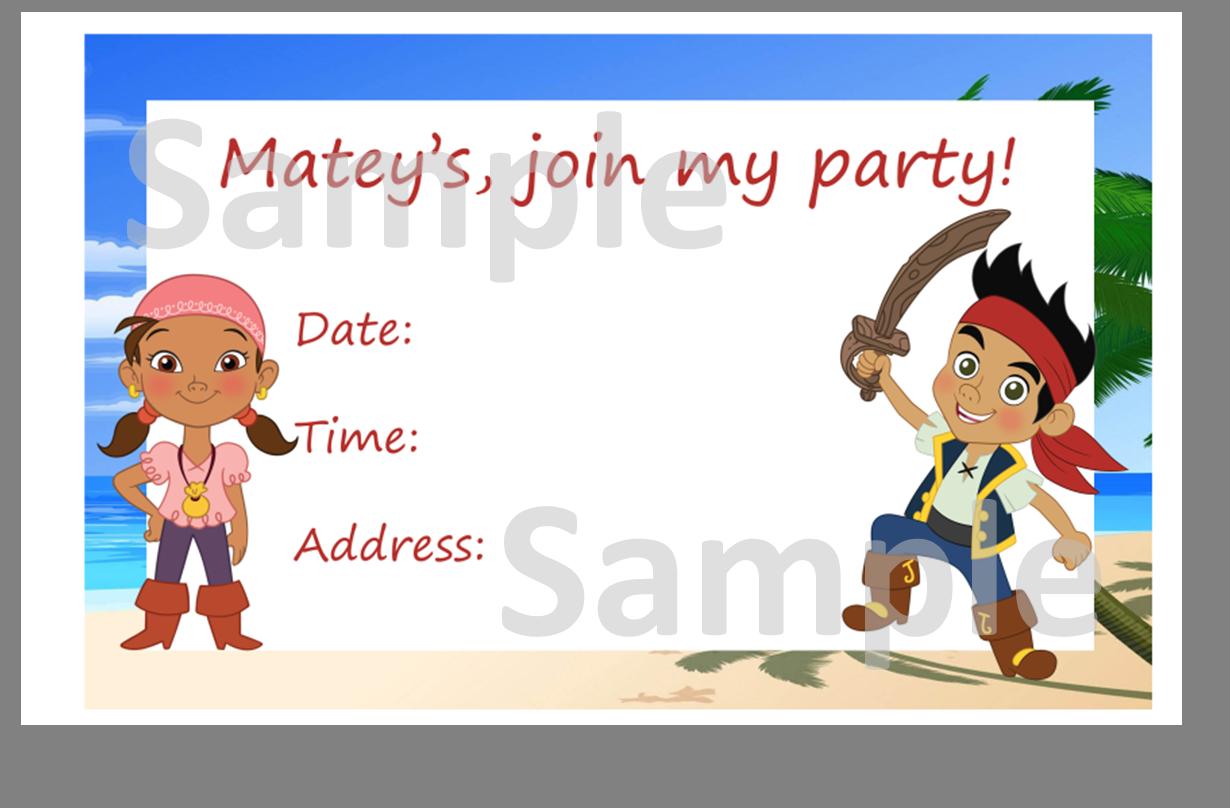 Free Jake & the Neverland Pirates Invitation   Cera\'s 5th Birthday ...