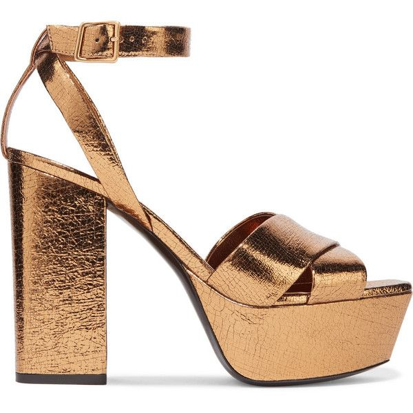 faf576000c5 Saint Laurent Farrah metallic cracked-leather platform sandals ( 965) ❤  liked on Polyvore featuring shoes