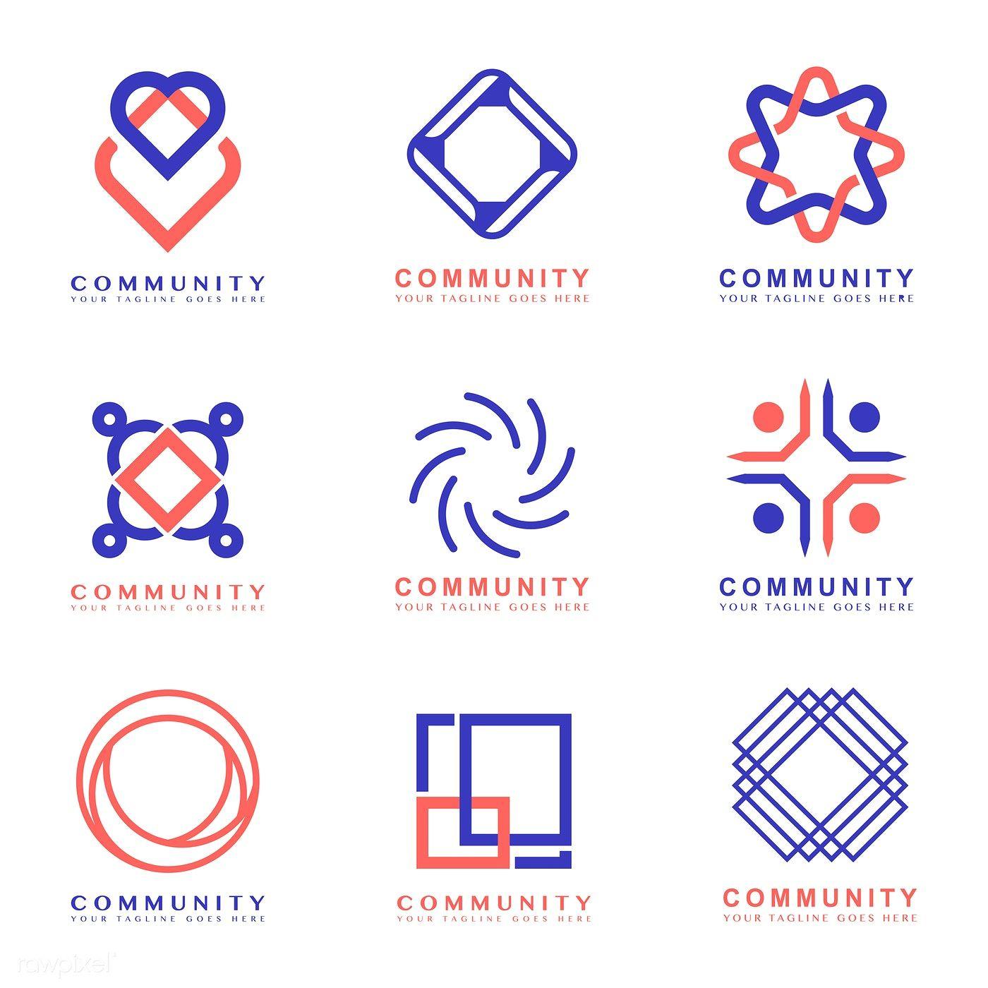 Set of community branding logo design samples free image