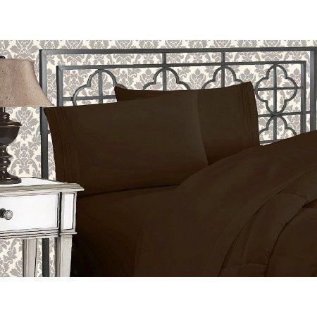 Elegant Comfort 4 Pc Sheet California King Chocolate Brown