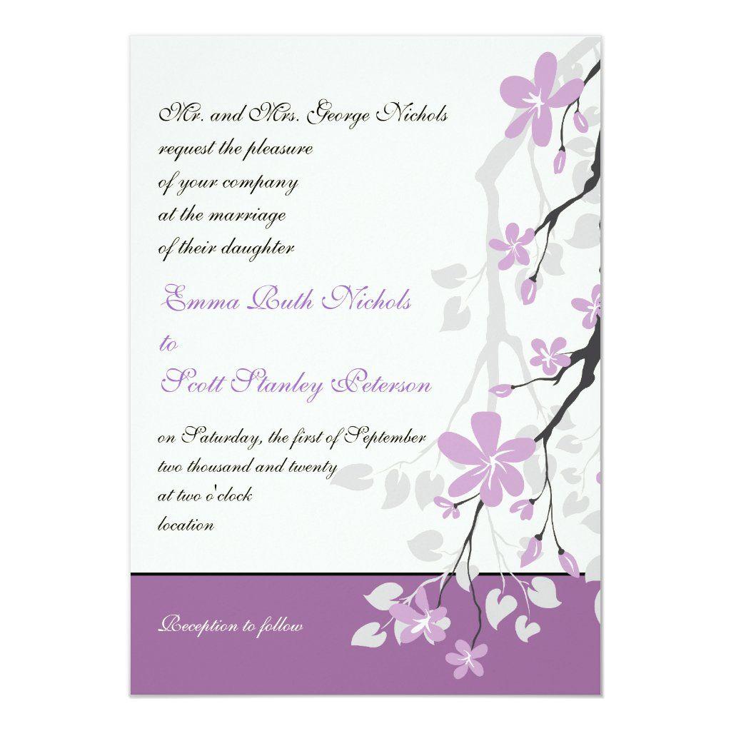 Magnolia branch purple flowers wedding invitation #purpleweddingflowers
