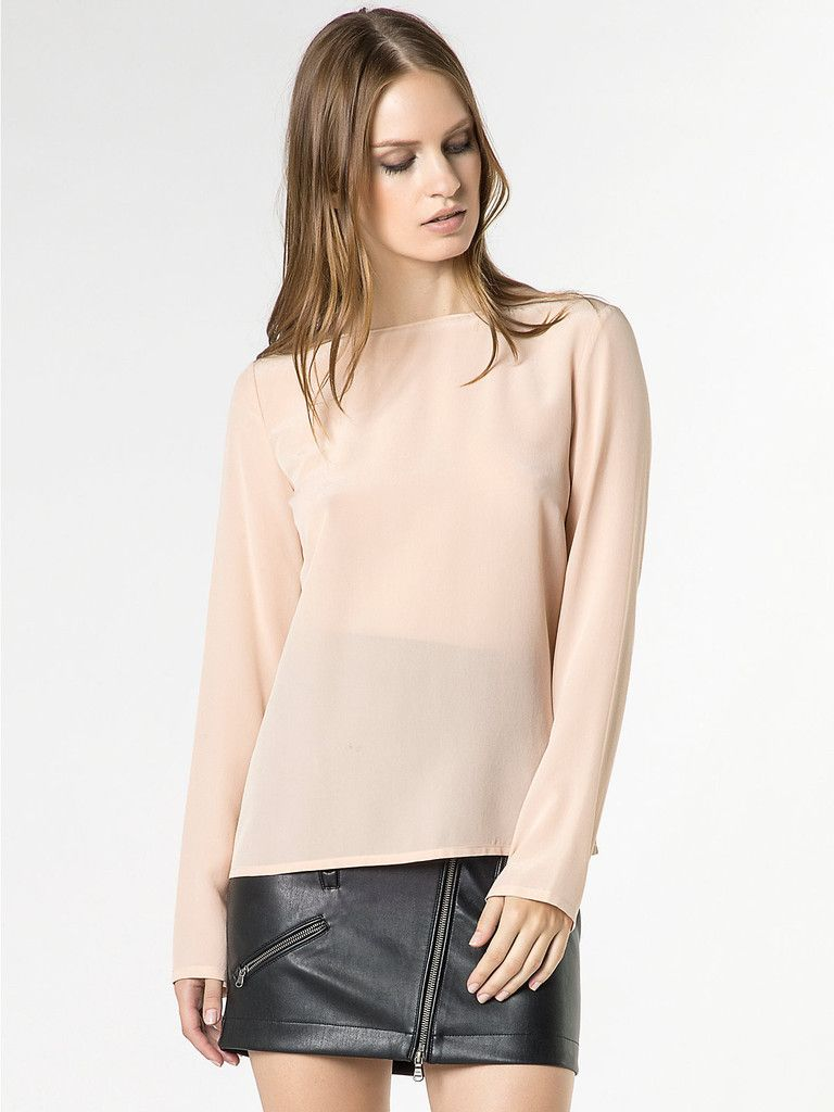 24cc5b5aa7 Camicia donna in seta modello casacca manica lunga, in Crepe de ...