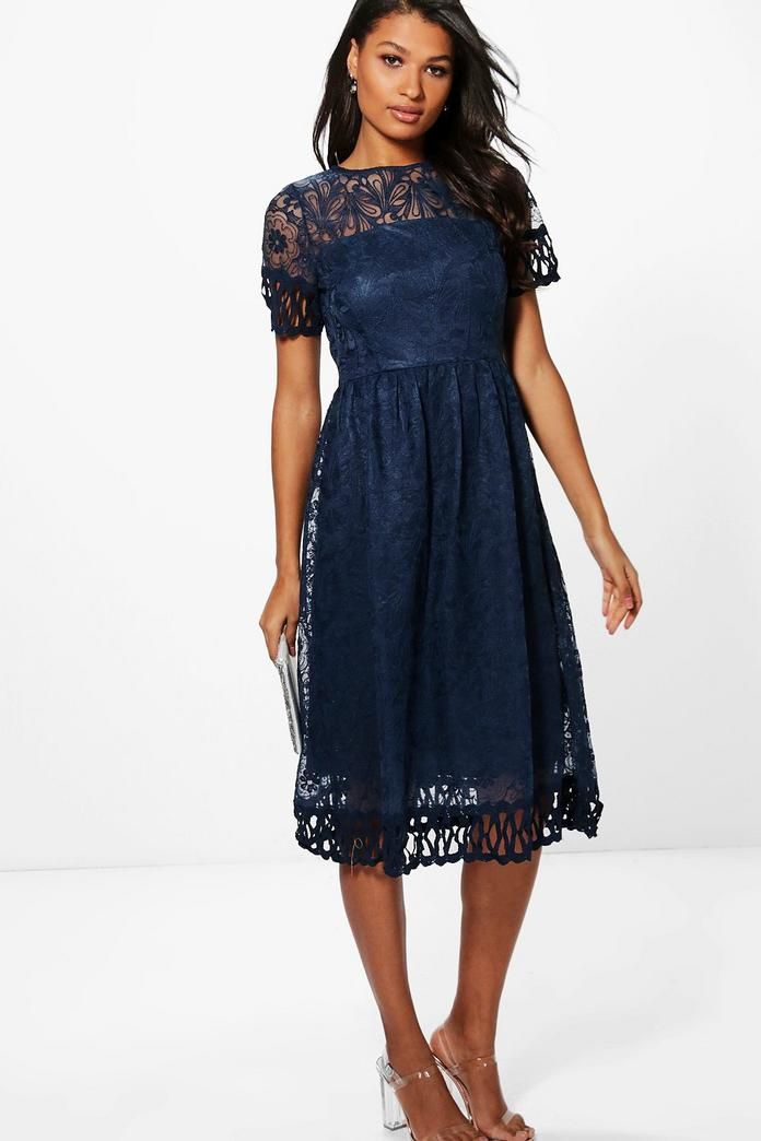 7d6910e0c4b5 Boutique Emi Embroidered Trim Midi Skater Dress   Shopping Lust List ...