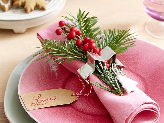 Photo of festliche Tischdeko für Weihnachten, elegant table decor for Christmas