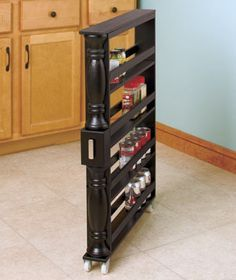 Slim Rolling Can And Spice Racks Kitchen Cabinet Storage Kitchen Storage Space Kitchen Storage Organization