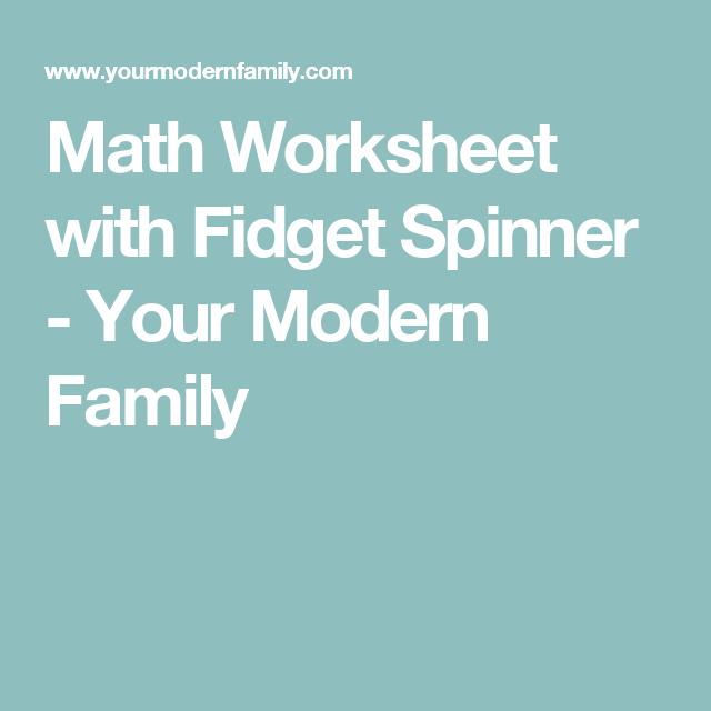 Math Worksheet with Fidget Spinner   Math worksheets, Modern family ...
