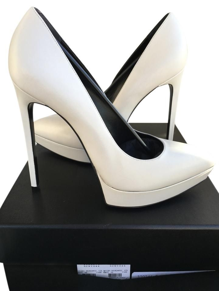 6f58b29183c Saint Laurent $775 Ysl Janis Porcelana Platform 40 Nib White Pumps. // As  seen on Chanel #2, played by Ariana Grande, in promotional photos for  season 1 of ...