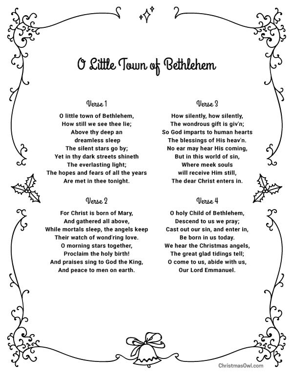 Free printable lyrics for O Little Town of Bethlehem