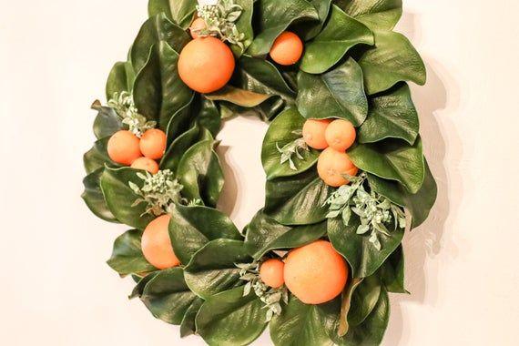 Photo of Magnolia Wreath / Farmhouse Front Door Decor Wreath / Mother's Day Wreath Gift / Summer Wreath / Hanging Wre