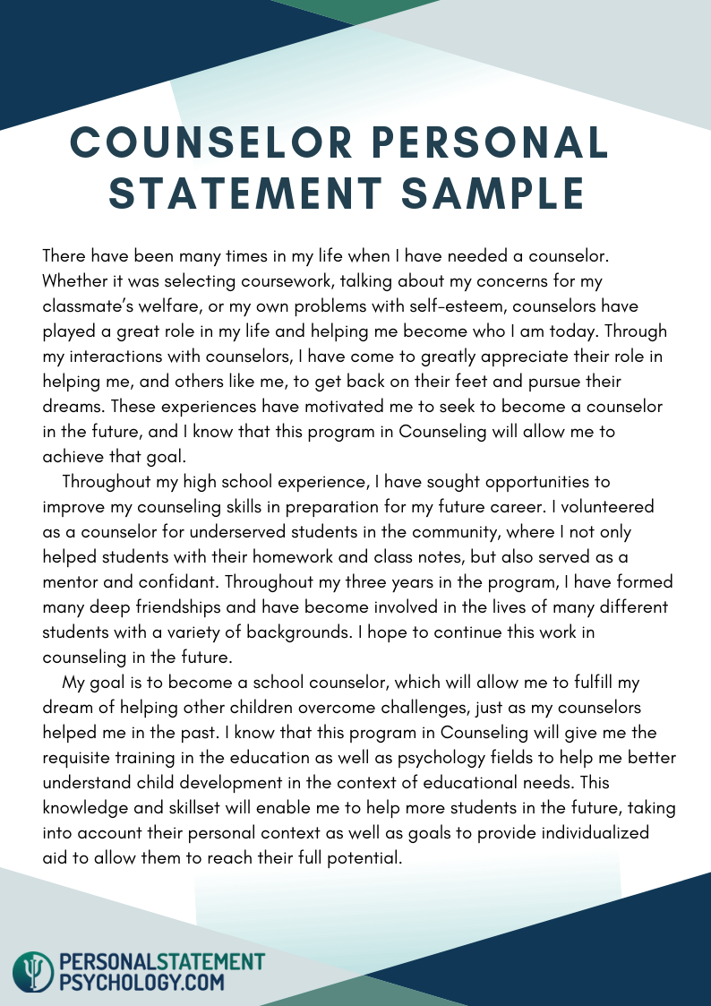 Counselor Personal Statement Sample Example Counselors Mission