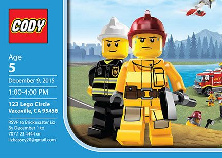 Lego Fire Personalized Birthday Invitation PRINTABLE Digital File Firefighter City 5x7
