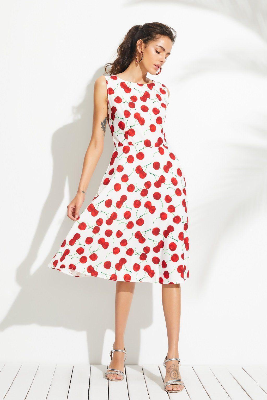 A chicloth cute cherry printed midi dress in prom dresses