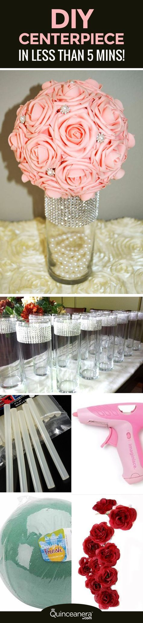 diy elegant quinceanera centerpiece in less than 5 minutes rh pinterest com table decorations for a quinceanera ideas