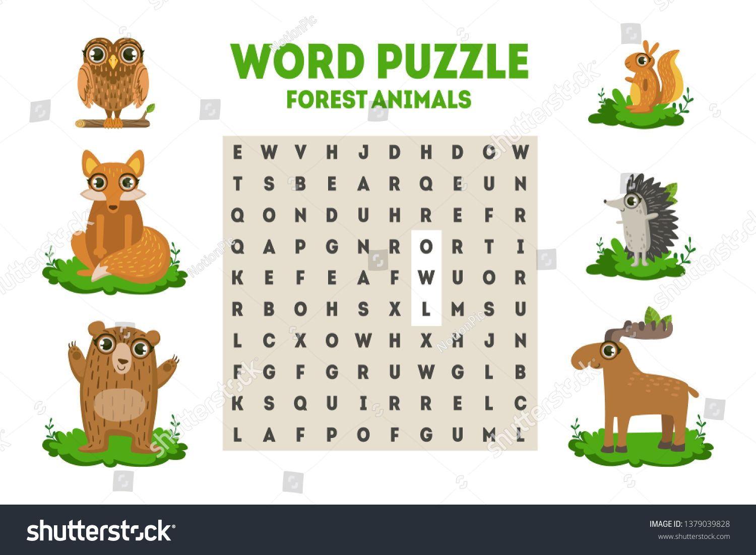 Word Search Puzzle With Forest Animals Educational Game For Kids Vector Illustration Ad Spon Fores Forest Animals Educational Games For Kids Kids Vector
